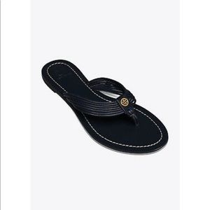 Tory Burch Sienna Thong Navy Leather Slippers 5